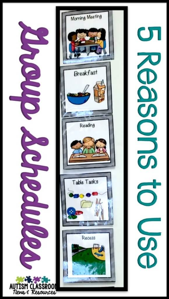 Group visual schedules for special education classrooms come in many different forms. Check out the post to see 5 reasons why they are important as well as many examples.