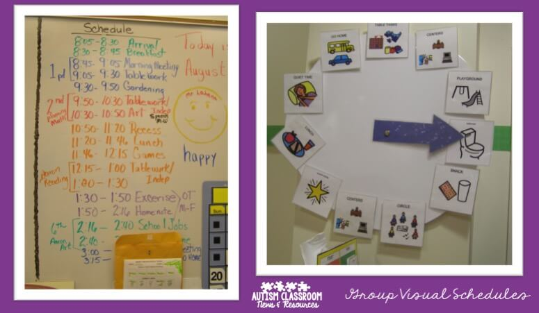 Visual group schedules for special education classrooms come in many different forms. Check out the post to see 5 reasons why they are important as well as many examples.