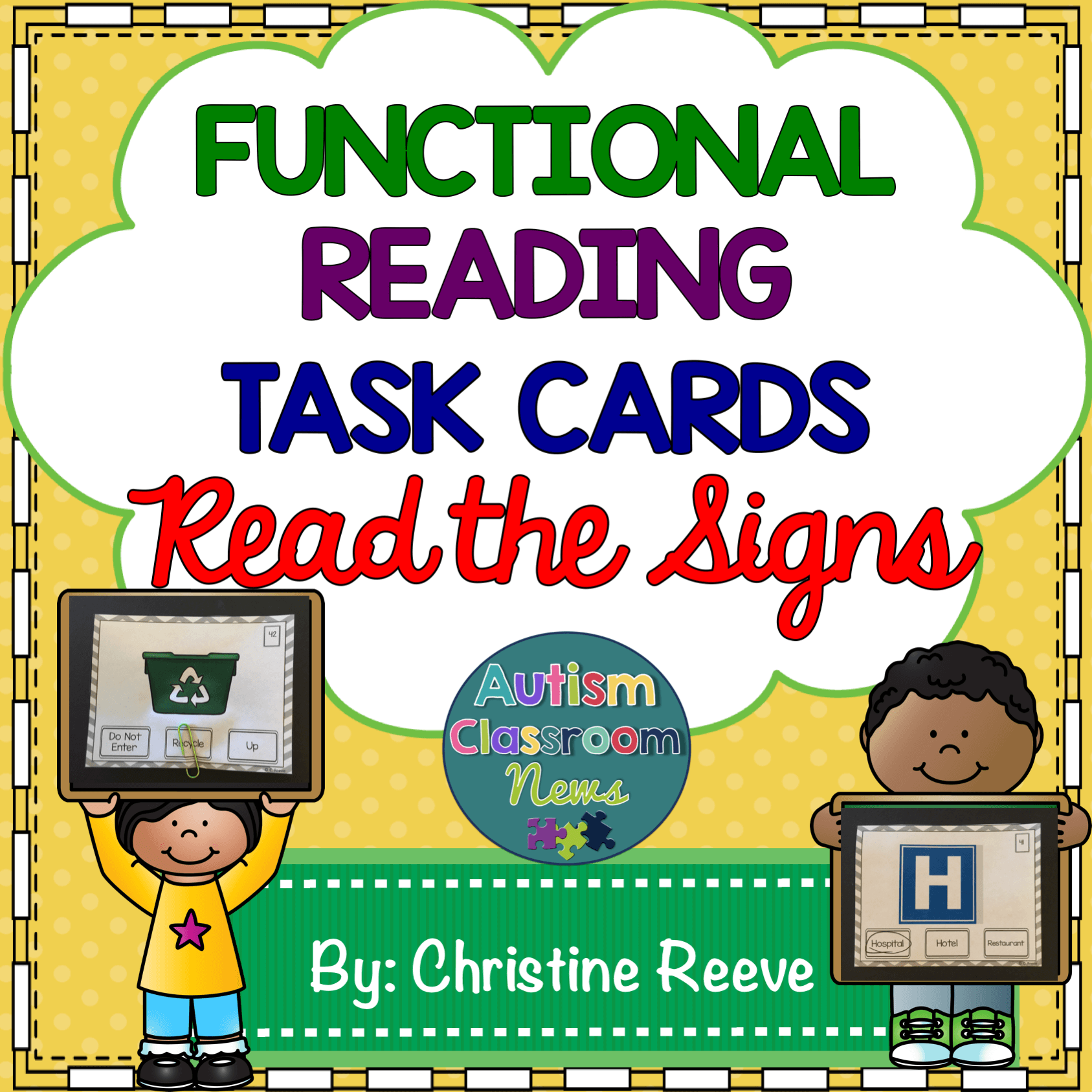 Functional Reading Task Cards Community Signs from Autism Classroom News