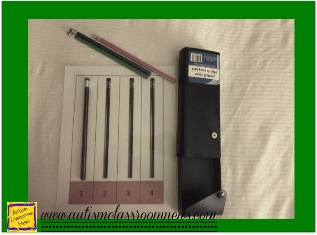 using a jig to count out pencils and package them in a pencil box as part of a structured work system for students with autism