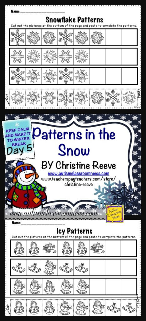 Snow Patterning Free Worksheets from Autism Classroom Resources