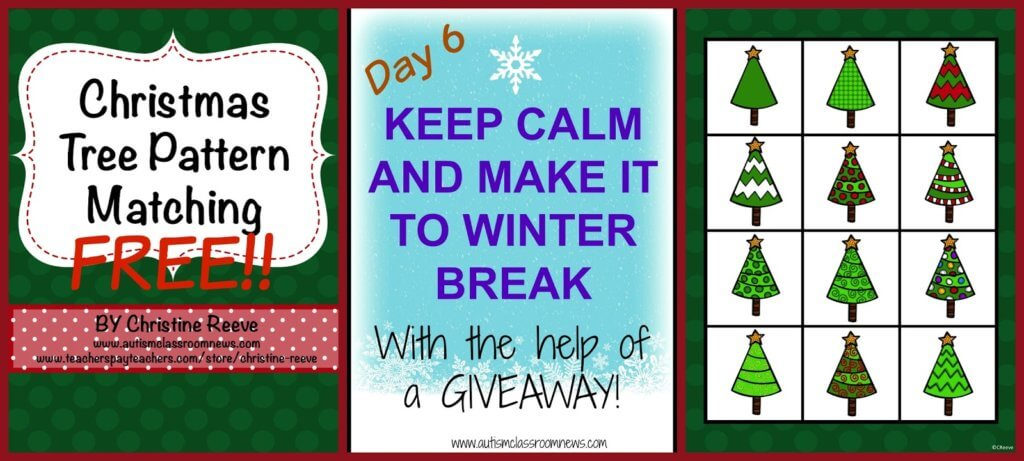 Free Pattern Matching File folder for the holidays from Autism Classroom News