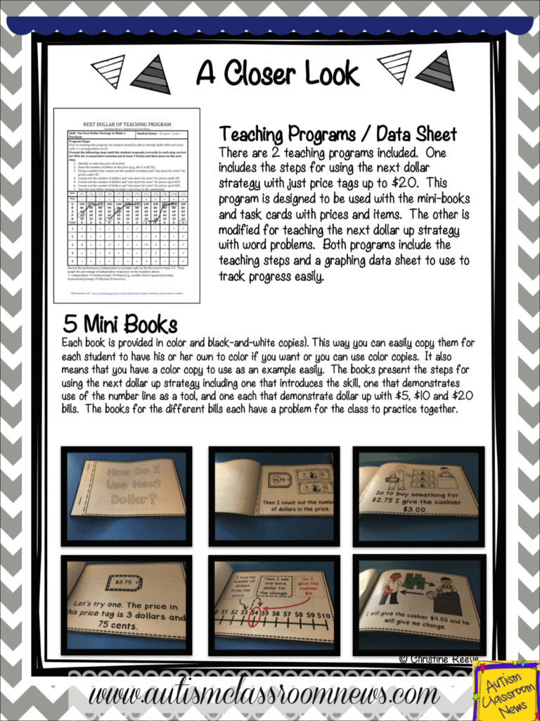 Next dollar up is a great strategy to use in life skills and elementary special education classes. I love to use it to teach students who have difficulty making change. These materials are designed to teach students HOW to use the skills and include a variety of multi-modal materials for delivery as well as a data sheet. It's everything you need to teach it.