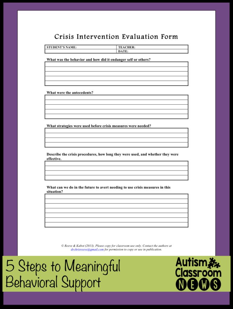 free crisis intervention evaluation form Autism Classroom News