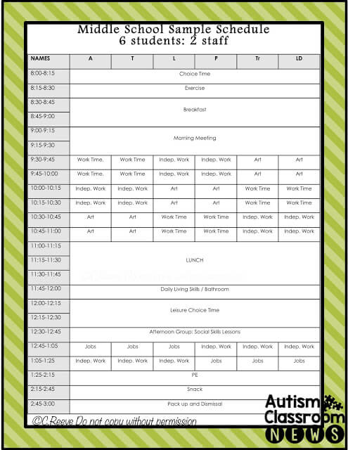Middle School special education schedule