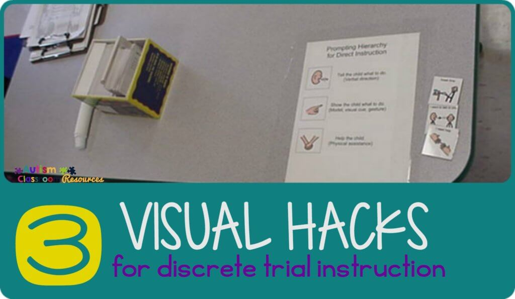 Visual supports for adults to support discrete trial instruction