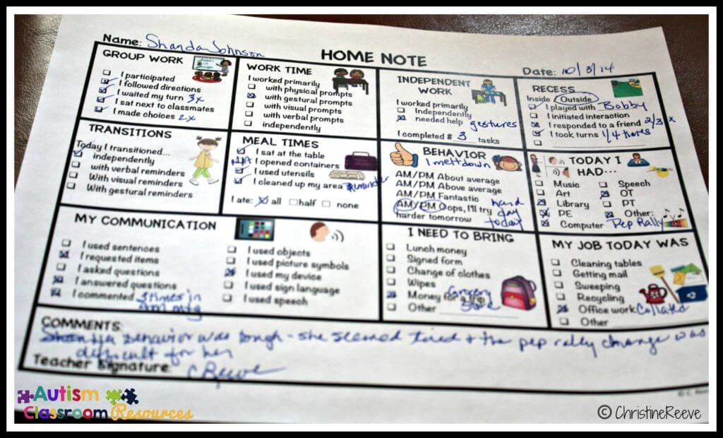 Home School Communication Note Editable from Autism Classroom News TPT