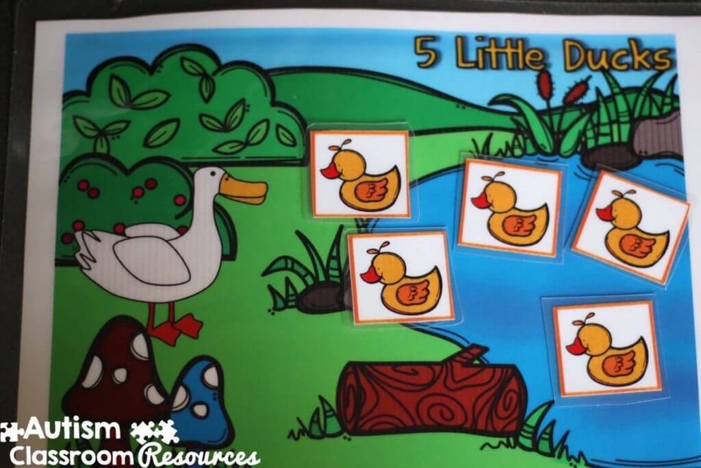 Autism Classroom Resources Morning Meeting 5 Little Ducks Board