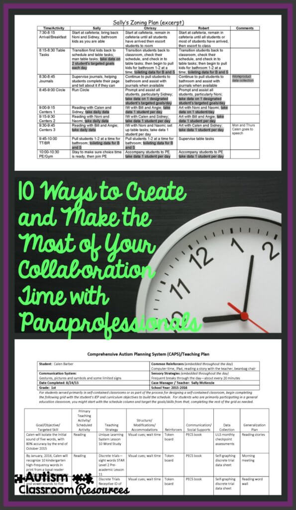 10 ways to make the most of your time for collaobration with paraprofessionals--Autism Classroom resources