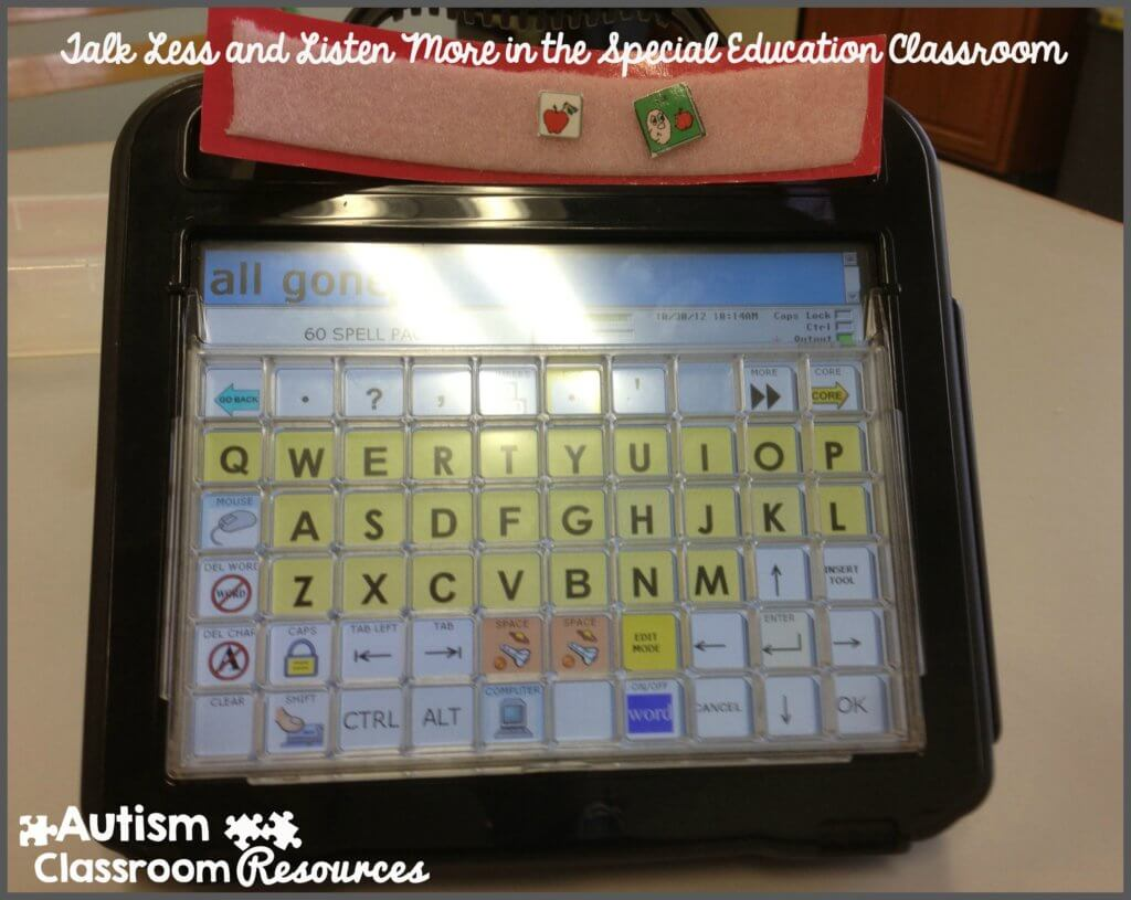 Modeling Language with AAC in Talk less and listen more in the Special Education Classroom Autism Classroom Resources