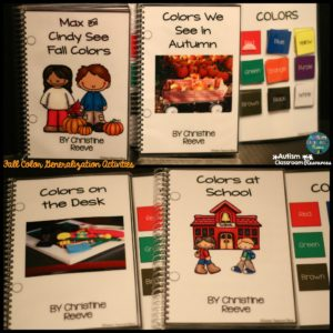 fall color generalization activities interactive books from Autism Classroom News