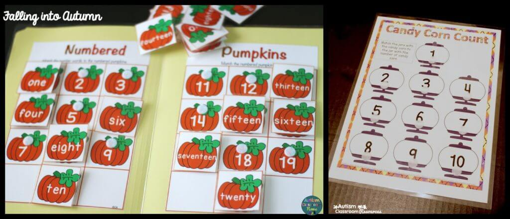 numbered pumpkin and candy corn count with watermarks