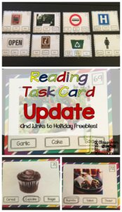 Reading Task Card Update and Links to Holiday Freebies from Autism Classroom Resources