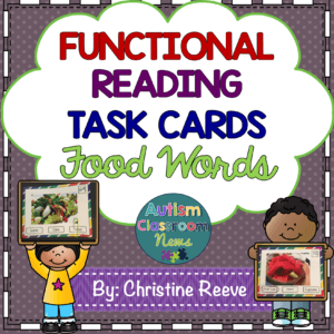 Functional Reading Task Cards Food Words Including Menu and Grocery Words from Autism Classroom News