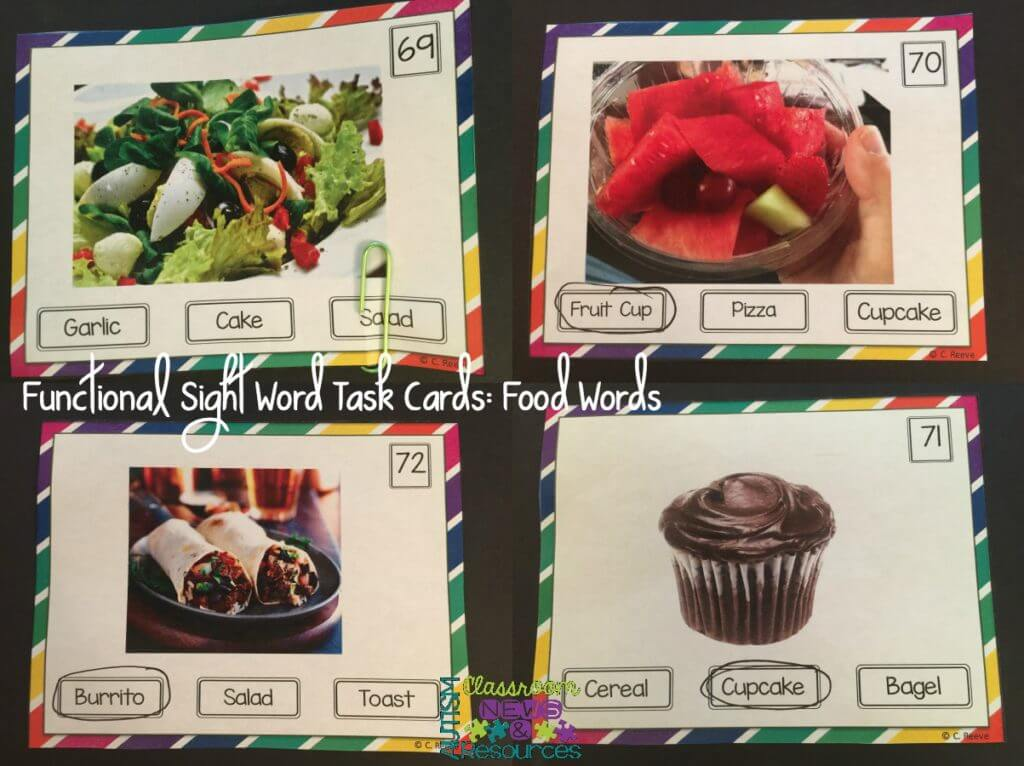 Functional Sight Word Task Cards Food Words from Autism Classroom News
