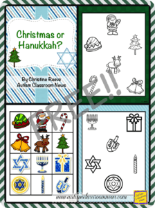 Christmas Hanukkah File Folder Matching to Outline from Autism Classroom Resources