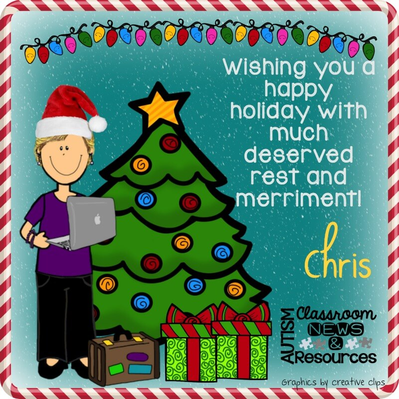 happy holidays from autism Classroom Resources