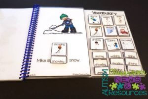 Example of an interactive book with characters for the student to identify as part of increasing literacy