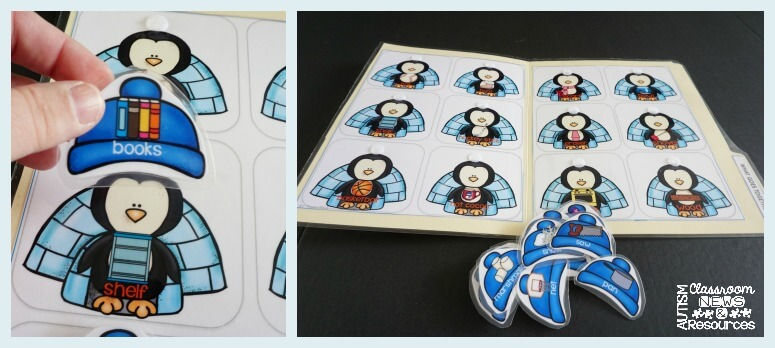 Penguin associated activities file folder from Autism Classroom Resources