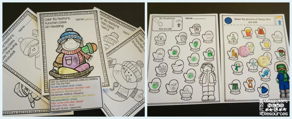 Print and go activities for receptive language from Autism Classroom News