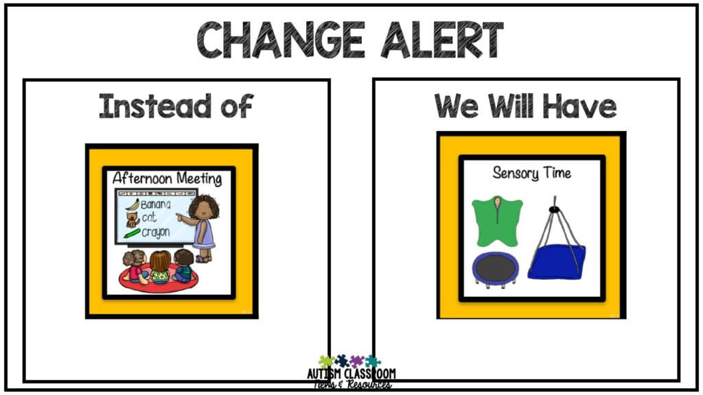 Visual to alert students to changes in the schedule