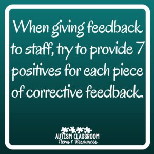 When giving feedback to staff, try to provide 7 positives for each piece of corrective feedback. Part of the series on special education leadership...this post focuses on giving feedback to staff in the classroom.