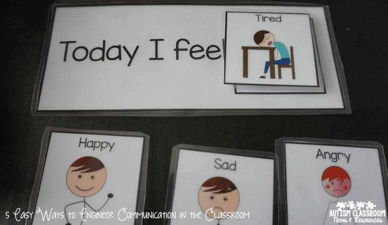 Sentence strips with different functions of language are great ways to engineer the special education classroom for communication.