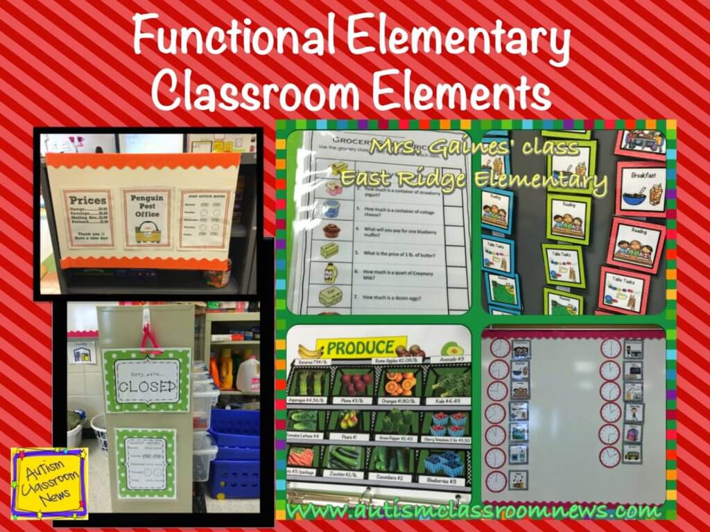 A variety of elements in an elementary classroom with a functional approach including layout, activities and visuals.