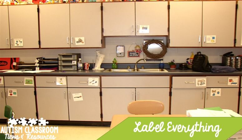 Labeling the cabinets allows everyone to find what they need independently. Click through for tips for classroom materials organization.
