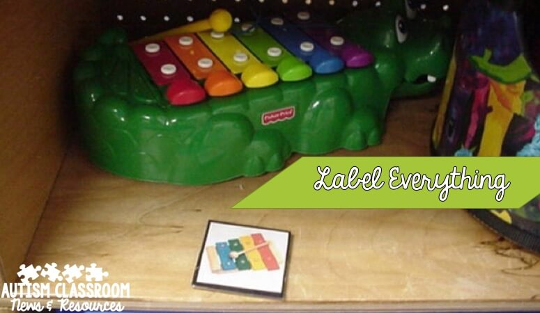 Labeling cabinets or shelves with the picture helps even younger students put their own things away. Click for more ideas for special education classroom materials organization.