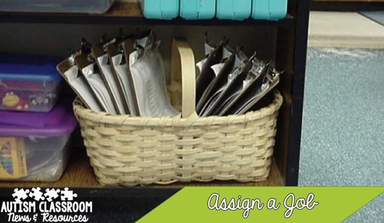 Organizing classroom materials in a special education classroom is a challenge. Try assigning jobs to students to bring materials to an area. One of many tips in organizing materials.