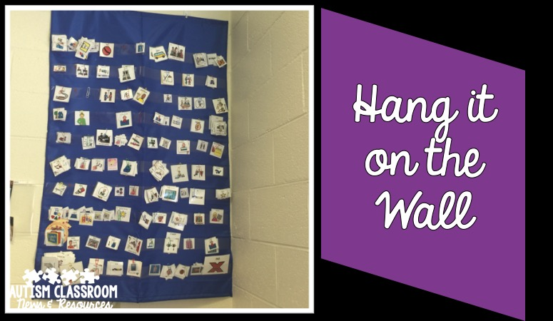 In a special education classroom, space is precious. Hang things on the wall to put things in or out of reach of students. One of 5 tips for classroom organization.