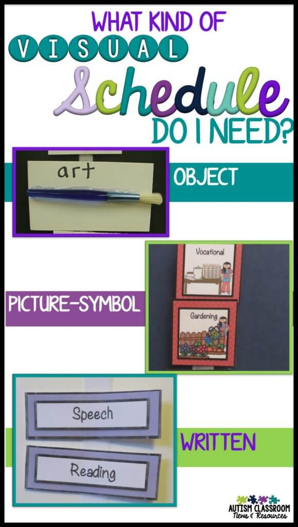 Knowing what kind of visual schedule a student needs is a tough question we all deal with in special education and autism. Some students can use pictures or even written schedules while others need object schedules. I'm sharing my decision-making process for deciding where to start and when/how to make changes.