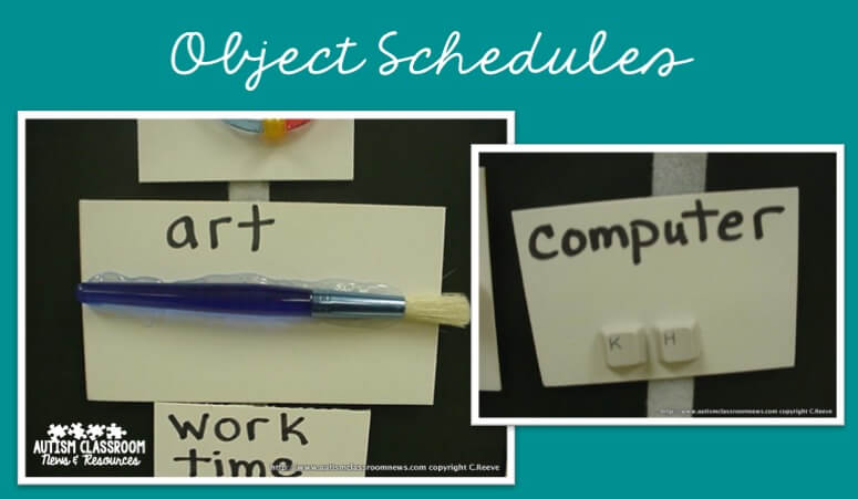 Examples of object schedules in classrooms for special education.