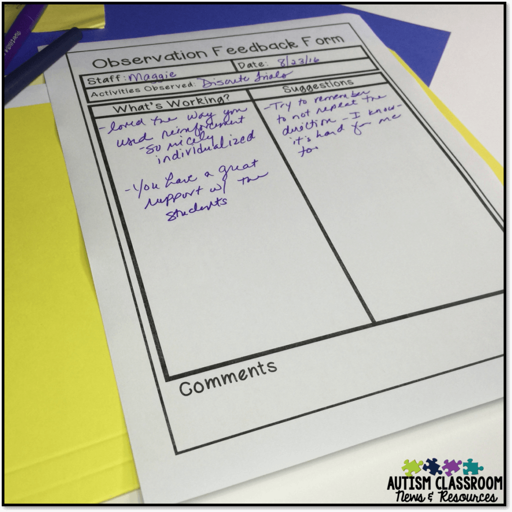 Giving feedback to paraprofessionals can be tricky. This observation form is part of a toolkit to help teachers develop teamwork in the special education classroom.