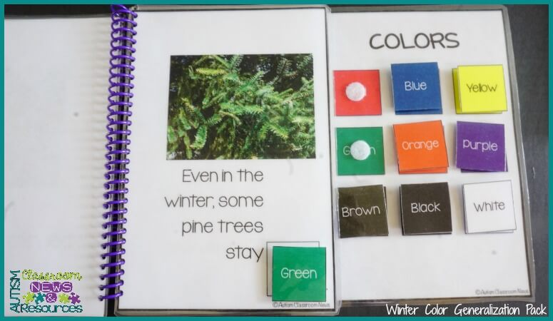 Color books are great ways to increase descriptive language. Have the students use the picture cues to expressively describe the items in the books in addition to using the pieces.