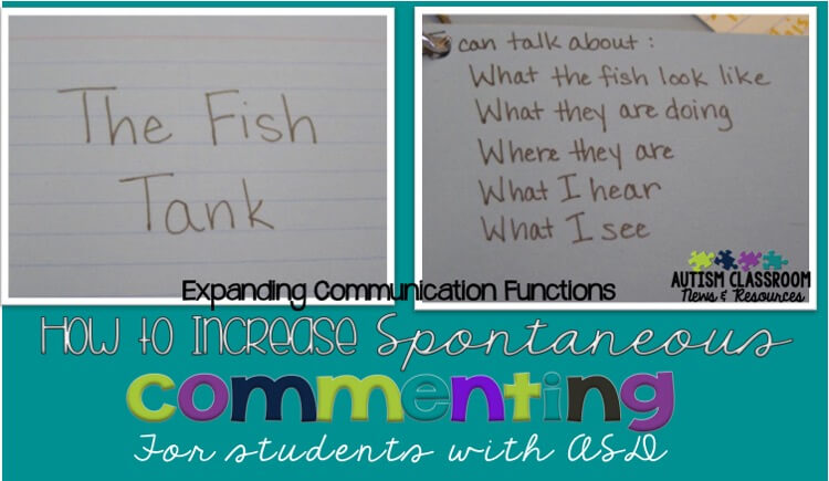 Making the jump from commenting in situations teachers set up to commenting spontaneously throughout the day is a tough one for many students with autism. This post has suggestions to increase commenting and generalize it so that it becomes a meaningful method of communication for our students.