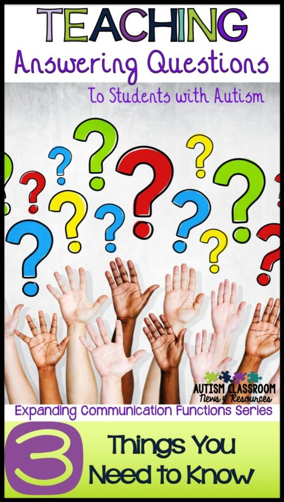 Raised hands and question marks-Teaching students with autism to answer questions