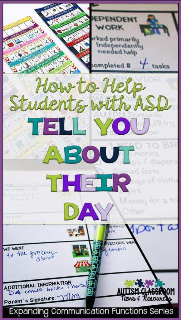 Do you ask your students with autism about their day only to get a blank stare? Or do you get communication but it isn't always accurate? Here are some tips to help teach our students with ASD or other communication difficulties to be able to talk about experiences.