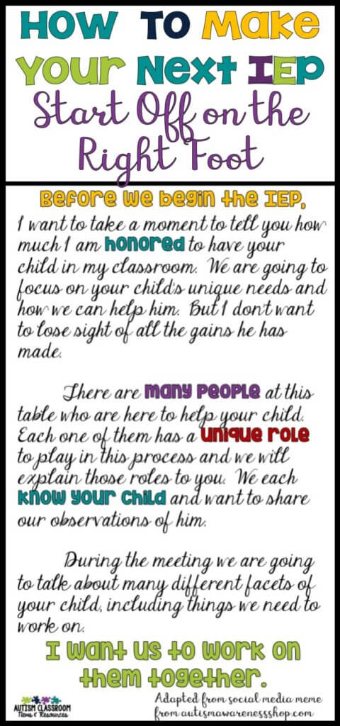We all want positive IEP meetings. We want to do what's right for the student and we want to support the families. Getting it started on the right note is a good start. Here are some ideas to help with that.