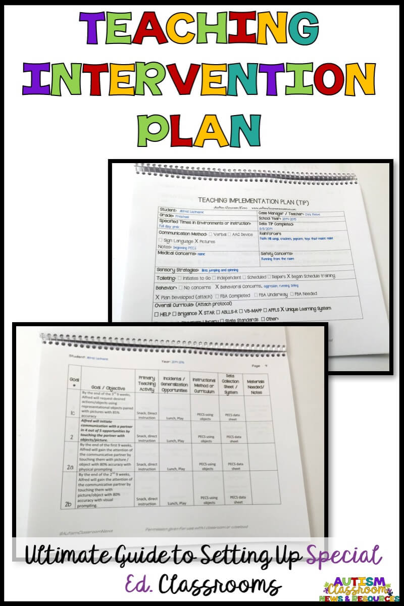 Perfect for autism classroom setup, the Teaching Intervention Plan (TIP) can help special education teachers plan out the schedule, instruction and data collection. Find out more about it in this round up post with examples.