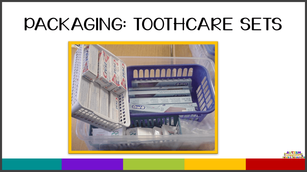 Packaging Independent Work Task: Toothcare Sets