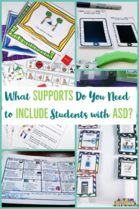 Pictures of social stories, punch reinforcer cards, home notes and mini schedules to support students with autism. What Supports Do you need to include students with ASD?
