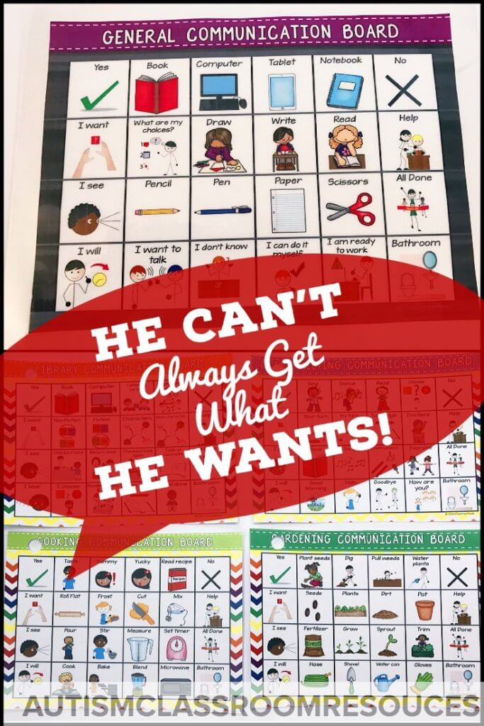 All special educators deal with situations in which we can't give a student something he requests. This often leads to meltdowns and tantrums. So how do we manage those requesting behaviors we want to teach while trying to avoid the challenging behavior? Click through for some Do's and Don'ts of managing the situation when he can't always get what he wants. #behaviormanagement #AAC #pbis #challengingbehavior #requesting #teachingcommunicationskills #communicationskillsstudent