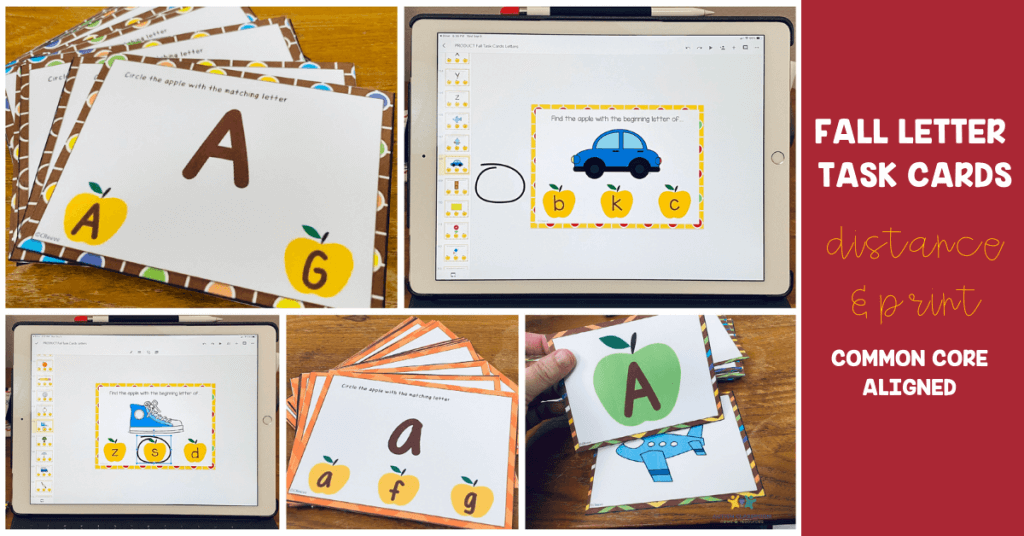 FALL LETTER TASK CARDS. DISTANCE AND PRINT. COMMON CORE ALIGNED