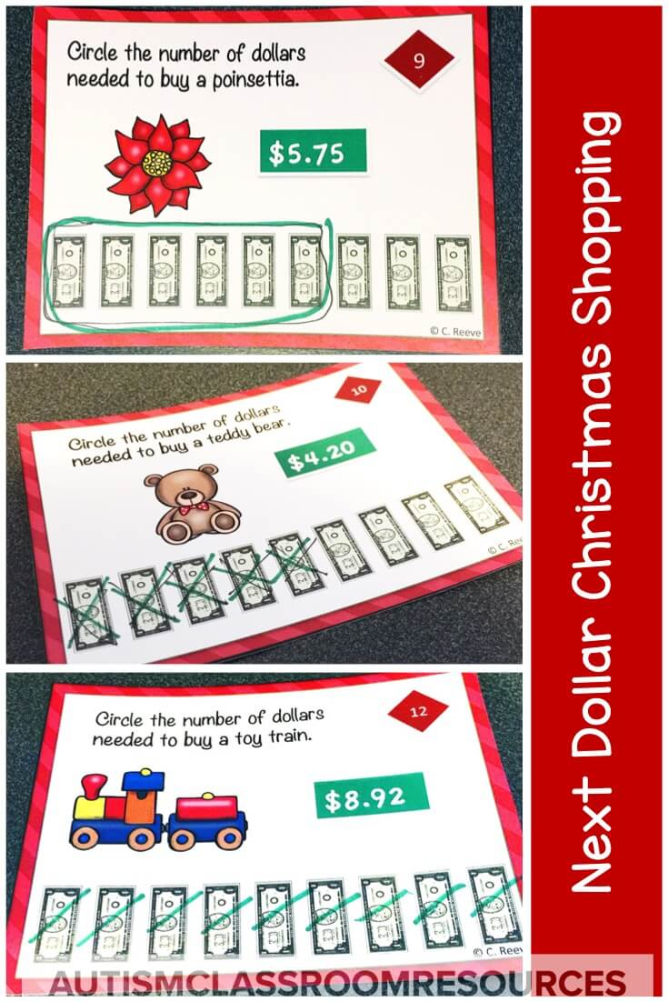 Next dollar up task cards are perfect for students using that strategy to make purchases around the winter holidays. Great for independent work or just practice, they are quick affordable way to liven up your instruction at this time of year! #nextdollarup #taskcards