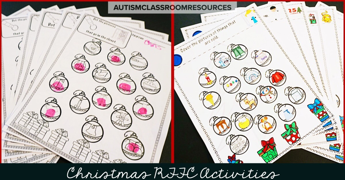 The winter holidays are always a tough time to get our students in special ed engaged. These are great print and go activities for working on receptive language skills like features, function or category (RFFCs). #appliedbehavioranalysis #christmaseducationaltasks