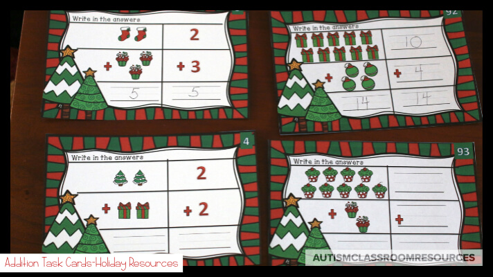 The winter holidays are always a tough time to get our students in special ed engaged. These independent work tasks for Christmas and Hanukkah are perfect for common-core basic literacy and math skills in independent work systems. #teacch #independentwork