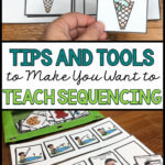Sequencing is such an important skill for students with autism because it feeds into literacy, language, communication, social interactions and more. Get tips and tricks on how teach it here. #autismteacher