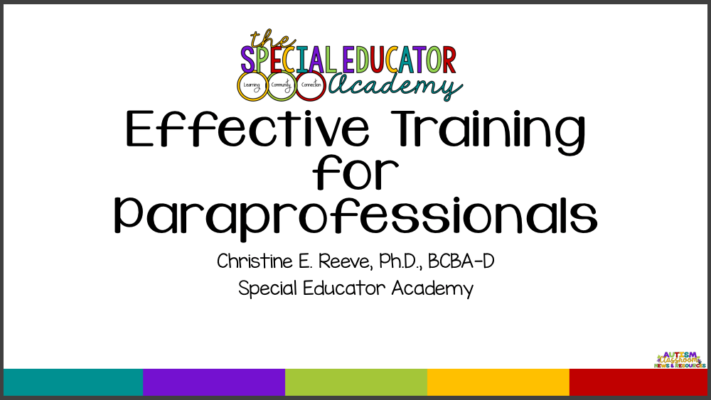 Within the Special Educator Academy, we have a 1-hour workshop specifically about providing effective training for paraprofessionals. Training staff can be a great way to reduce your stress in the classroom as a special education teacher. Click through to check it out.
